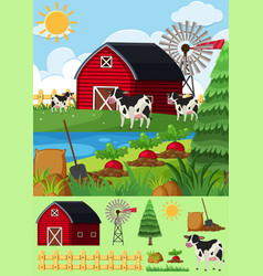 Farm scene with many cows and barn vector