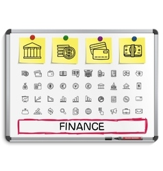 Finance hand drawing line icons vector image