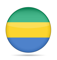 flag of gabon shiny round button vector image
