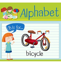 Flashcard letter B is for bicycle vector
