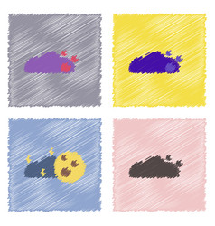 Flat icon design collection cloud and moon in vector