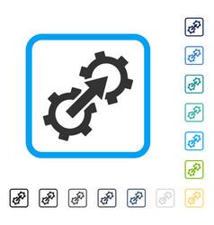 Gear integration framed icon vector