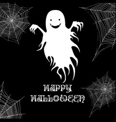 ghost and cobweb happy halloween background vector image