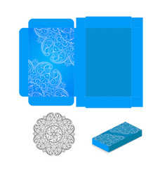 gift wrapping box with corner elements of the vector image
