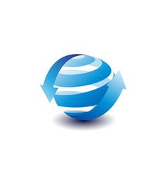 globe arrows spiral logo vector image