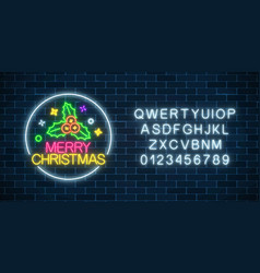 Glowing neon christmas sign with holly in circle vector