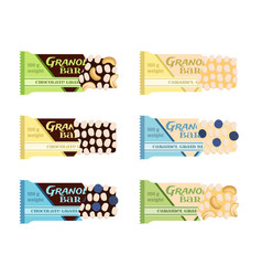 Granola bars chocolate caramel with grain berries vector