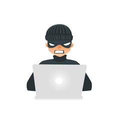 Hacker in black clothes and mask sitting behind vector