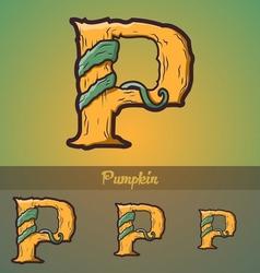 Halloween decorative alphabet - P letter vector