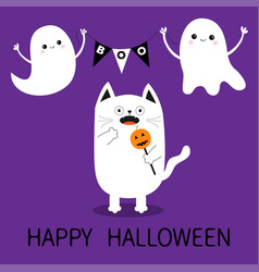 happy halloween spooky frightened cat holding vector image