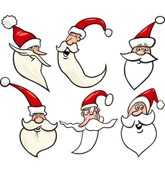 happy santa claus cartoon faces icons set vector image