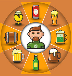 Infographic set of beer icons and man vector