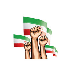 Iran flag and hand on white background vector