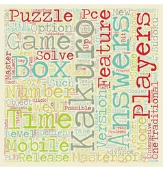 Kakuro Puzzles By Mastersoft text background vector image