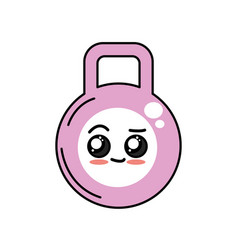 Kawaii cute happy dumbbell emoji vector