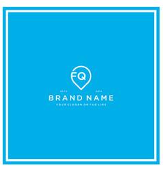 Letter fq pin logo design vector