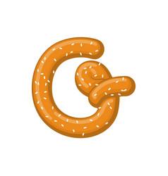Letter g pretzel snack font symbol food alphabet vector