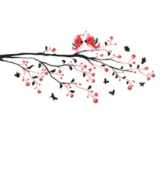 Love birds on branch vector