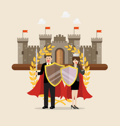 man and woman holding shield sword with golden vector image