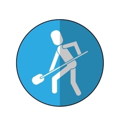 Man shovel digging work construction-blue circle vector