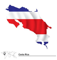 Map of Costa Rica with flag vector