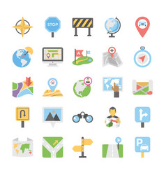 Maps and navigation flat icons set 3 vector