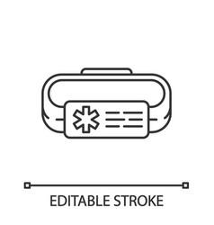 Medical alert id bracelet linear icon vector