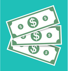 Money dollar cash icon bill and currency green vector