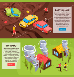 Natural disaster isometric banners vector