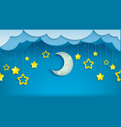 night sky with half moon and stars vector image