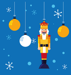 Nutcracker king toy hanging with balls of vector