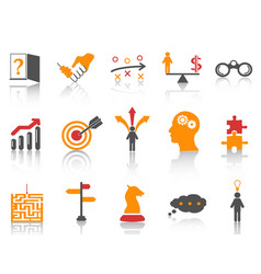 orange business strategy icons set vector image