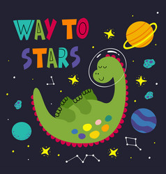 Poster with a sleeping dinosaur in space vector