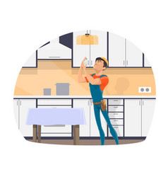 Professional electrician changing light bulb icon vector