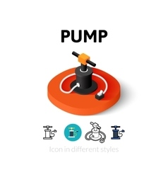 Pump icon in different style vector image
