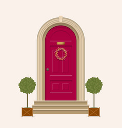red front door house with pot plants vector image