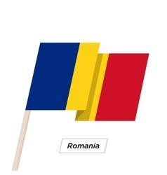 Romania Ribbon Waving Flag Isolated on White vector image