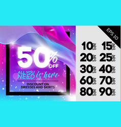 Sale banner with flying silk vector