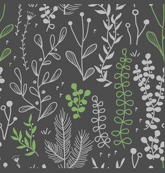 seamless border with doodle forest and vector image
