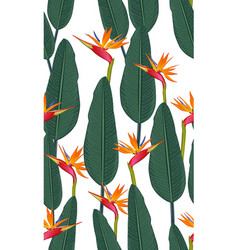 seamless pattern tropical leaves with bird of vector image