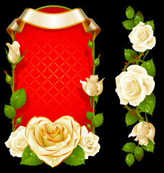 set floral decoration white roses green vector image