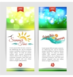 Shining summer typographical banners with blurred vector image vector image