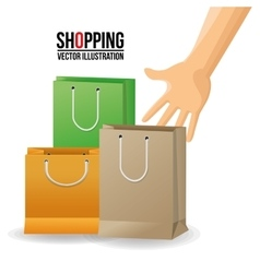 Shopping bag and hand design vector