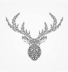 silhouette of a deer head with horns from ornate vector image