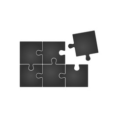 six grey piece flat puzzle infographic vector image