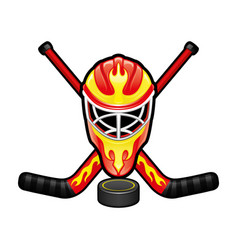 Sports sign with a hockey goalkeeper helmet vector