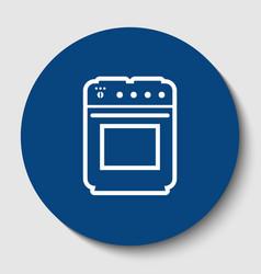 stove sign white contour icon in dark vector image