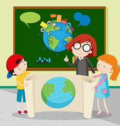 Students holding large world map vector image