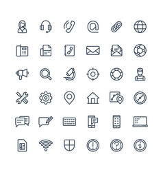Thin line icons set with contact us vector