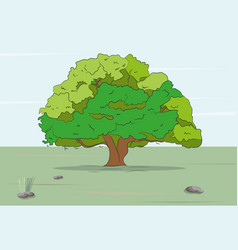 tree stands on nature colored drawing vector image
